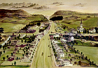 0125397 © Granger - Historical Picture ArchiveNEW YORK: UPSTATE TOWN.   View of Poestenkill, New York, near Troy. Oil on board by Joseph H. Hidley, 1855.