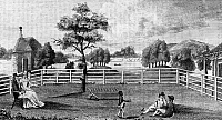 0125399 © Granger - Historical Picture ArchiveSARATOGA, NEW YORK, 1794.   'An East View of M'Neal's Ferry at Saratoga.' Line engraving from New York Magazine, 1794.