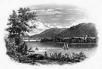 0125409 © Granger - Historical Picture ArchiveFORT TICONDEROGA: RUINS.   The ruins of Fort Ticonderoga on Lake Champlain. Line engraving, American, 1847.