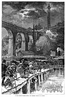 0267312 © Granger - Historical Picture ArchiveHARLEM HIGH BRIDGE, 1880.   Travelers boarding a ferry near the High Bridge over the Harlem River, New York. Wood engraving, American, 1880.