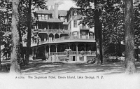 0323799 © Granger - Historical Picture ArchiveNEW YORK: LAKE GEORGE.   The Sagamore Hotel on Green Island on Lake George, New York. Photo postcard, early 20th century.
