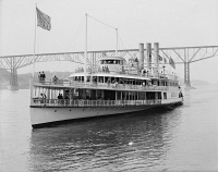 0351954 © Granger - Historical Picture ArchiveNEW YORK: HUDSON RIVER.   Steamer 'Albany' passing under the Poughkeepsie Bridge on the Hudson River, New York State. Photograph, c1905.