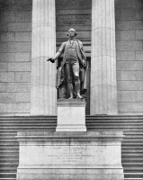 0353246 © Granger - Historical Picture ArchiveNYC: WASHINGTON, c1890.   The statue of George Washington in front of the United States Sub-Treasury (now Federal Hall National Memorial) in New York City. Photograph, c1890.