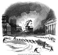 0370853 © Granger - Historical Picture ArchiveNEW YORK: FIRE, 1845.   Firefighters dragging equipment through a blizzard to fight a fire in the offices of the New York Tribune in downtown Manhattan, 5 February 1845. Contemporary English wood engraving.