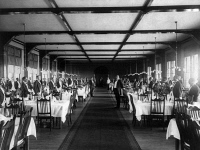 0621821 © Granger - Historical Picture ArchiveADIRONDACKS: HOTEL, c1890.   Dining room at the Hotel Champlain in the Adirondacks, New York. Photograph, c1890.