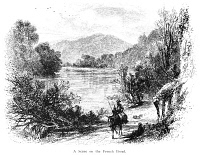 0015188 © Granger - Historical Picture ArchiveNORTH CAROLINA, c1875.   A scene along the French Broad River, North Carolina. Line engraving, c1875.