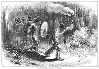 0082627 © Granger - Historical Picture ArchiveTRACKING FUGITIVES, 1711.   Tuscarora Indians tracking fugitive European colonists in eastern North Carolina at the beginning of the Tuscarora War (1711-1715). Wood engraving, 19th century.
