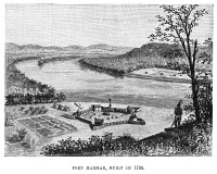 0382926 © Granger - Historical Picture ArchiveOHIO: FORT HARMAR, 1785.  Fort Harmar, at the mouth of the Muskingum River in Ohio, built in 1785. Engraving, American, 1885.