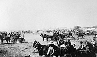 0183826 © Granger - Historical Picture ArchiveOKLAHOMA LAND RUSH, 1893.   'The Start.' Homestead claimants waiting for the opening of the Cherokee Strip, Oklahoma Territory, on 16 September 1893. Photograph by Alexander A. Forbes, 1893.
