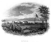 0082601 © Granger - Historical Picture ArchiveASTORIA, OREGON.   Astoria, the first permanent settlement in the Oregon country, at the mouth of the Columbia River. Steel engraving, 19th century.