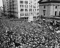 0528413 © Granger - Historical Picture ArchivePORTLAND, c1943.   The crowd at a war bond drive at the Pioneer Courthouse in Portland, Oregon. Photograph, c1943.