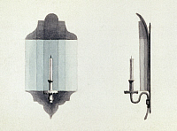 0125670 © Granger - Historical Picture ArchiveWALL CANDLE, 1774.   Wall candle with reflector used in Carpenter's Hall, Philadelphia, for the First Continental Congress, 1774. Watercolor, c1845.