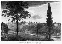 0125697 © Granger - Historical Picture ArchiveSCHUYLKILL FERRY, 1808.   Mendelhall Ferry and an inn on the Schuylkill River near Philadelphia, Pennsylvania. Wood engraving, American, 1808.