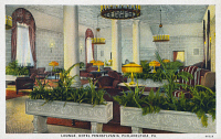 0323895 © Granger - Historical Picture ArchivePENNSYLVANIA: HOTEL.   Lounge at the Hotel Pennsylvania in Philadelphia, Pennsylvania. Postcard, mid 20th century.