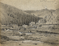 0525814 © Granger - Historical Picture ArchivePENNSYLVANIA: MAUCH CHUNK.   View of Mount Pisgah in  Mauch Chunk, Pennsylvania. Drawing by James Fuller Queen, c1820.