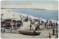 0128457 © Granger - Historical Picture ArchiveBLOCK ISLAND BEACH, c1905.   The bathing beach and Clay Head on Block Island, Rhode Island. American postcard, c1905.