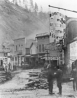 0004765 © Granger - Historical Picture ArchiveDEADWOOD, SOUTH DAKOTA.   Wall Street, following Snaky Gulch bottom, in the frontier town of Deadwood, 1877.