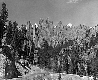 0066085 © Granger - Historical Picture ArchiveSOUTH DAKOTA: BLACK HILLS.   A mass of narrow, pointed rock formations stretches skyward in the Black Hills. Photographed in 1940 by Charles Reyner.