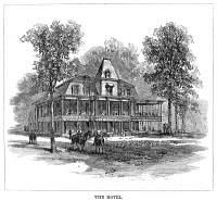 0355133 © Granger - Historical Picture ArchiveTENNESSEE: RUGBY, 1880.   The hotel in the newly founded town of Rugby, Tennessee, 1880. Contemporary American wood engraving.