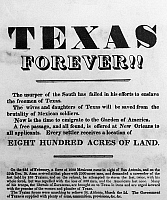 0110129 © Granger - Historical Picture ArchiveTEXAS BROADSIDE, 1836.   Broadside advertising a free passage to Texas after winning independence from Mexico, March 1836.