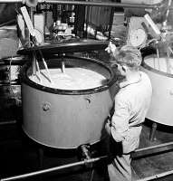 0324430 © Granger - Historical Picture ArchiveVERMONT: CREAMERY, 1941.   Pasteurization unit for cream at the United Farmers' Cooperative Creamery in Sheldon Springs, Vermont. Photograph by Jack Delano, 1941.