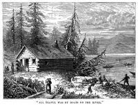 0053661 © Granger - Historical Picture ArchiveVIRGINIA SETTLEMENT.   Settlement on the Virginia frontier in the 18th century. Wood engraving, 19th century.