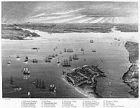 0099500 © Granger - Historical Picture ArchiveVIRGINIA: FORT MONROE.   Fort Monroe, Virginia, during the Civil War. Steel engraving, 1862.