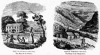 0113572 © Granger - Historical Picture ArchiveVIRGINIA: EAST AND WEST.   19th century American engravings comparing 'Life in Eastern Virginia. The Home of the Planter,' and 'Life in Western Virginia. The Home of the Mountaineer.'