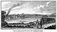 0131841 © Granger - Historical Picture ArchiveFREDERICKSBURG, VIRGINIA.  View of Fredericksburg on the Rappahannock River in Virginia. Wood engraving, American, 1856.