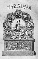 0131907 © Granger - Historical Picture ArchiveVIRGINIA: MOTTO.   'Sic semper tyrrannis' (thus always to tyrants), the motto of the Commonwealth of Virginia, surrounded by portraits of the state's favorite sons and a depiction of Pocahontas saving John Smith. Wood engraving, Americann, 1856.