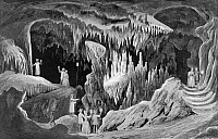 0131929 © Granger - Historical Picture ArchiveVIRGINIA: CAVE, 1857.   The 'drums' in the 'tapestry room' of Weyers Cave in the Blue Ridge Mountains, Virginia. Lithograph, American, c1856