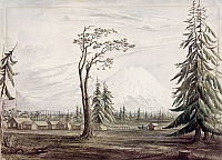 0103025 © Granger - Historical Picture ArchiveWASHINGTON: STEILACOOM.   'Steilacoom Barracks and Mount Rainier.' Fort Steilacoom, one of the first U.S. forts north of the Columbia River, was built to protect against Indian attacks. Watercolor by William Birch McMurtrie, c1852.