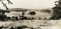0324820 © Granger - Historical Picture ArchiveWASHINGTON: ORCAS ISLAND.   View of Orcas Island, part of the San Juan Islands off the coast of Washington. Postcard, American, c1935.