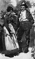 0173336 © Granger - Historical Picture ArchiveHATFIELD-McCOY FEUD.   Johnson 'Johnse' Hatfield with Roseanna McCoy. Illustration from a story by John R. Spears, 1900, about the feud between the Hatfield family of West Virginia and the McCoy family of Kentucky, which escalated when Roseanna and Johnse started a relationship.