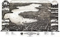 0527759 © Granger - Historical Picture ArchiveMAP: WISCONSIN, 1882.   Aerial view of Lake Geneva, Wisconsin. Lithograph after a drawing by Wellge & Poole, 1882.