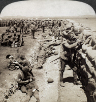 0000138 © Granger - Historical Picture ArchiveBOER WAR, 1900.   The Irish Royal Munster Fusiliers fighting from behind the redoubt at Honey Nest Kloof, near Kimberley, South Africa, February 1900. Stereograph view.