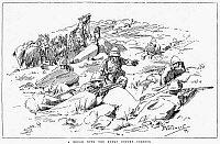 0001709 © Granger - Historical Picture ArchiveBOER WAR, 1899.   'A Brush with the Enemy Before Colenso.' British troops at Colenso, South Africa, in December 1899. Wood engraving after a drawing by F.A. Stewart, c1899.