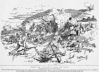 0001710 © Granger - Historical Picture ArchiveBOER WAR, 1899.   'Dublins and Inniskillings Across the Tugela'. Irish and Scottish troops under fire while crossing the Tugela River, Natal, South Africa in December 1899. Wood engraving after a drawing by F.A. Stewart, c1899.