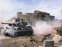 0099198 © Granger - Historical Picture ArchiveKOREAN WAR: TANK, 1951.   An American First Division tank drives north through Chunchon, on the central front in Korea, March 1951. Oil over a photograph.