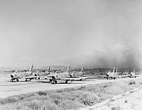 0102496 © Granger - Historical Picture ArchiveKOREAN WAR: FIGHTER JETS.   U.S. Air Force F-86 Sabrejets await takeoff on a Korean airstrip. Photographed 1951.