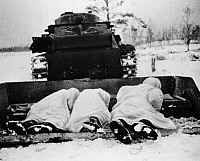 0000311 © Granger - Historical Picture ArchiveRUSSO-FINNISH WAR, 1939-40.   Soviet infantrymen being taken into battle on a sled drawn by an armored tank, 1939-40.