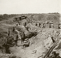 0115728 © Granger - Historical Picture ArchiveRUSSO-JAPANESE WAR, c1905.   Russian soldiers behind fortifications at Port Arthur, China. Stereograph, c1905.