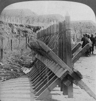 0325761 © Granger - Historical Picture ArchiveRUSSO-JAPANESE WAR, 1905.   Russian barrier and barbed wire blocking the road to the Japanese advance on Port Arthur, China, during the Russo-Japanese War. Stereograph, 1905.