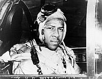 0002074 © Granger - Historical Picture ArchiveKOREAN WAR: ENSIGN BROWN.   U.S. Naval Ensign Jesse Brown, the first African American Naval aviator, photographed in the cockpit of a F4U-4 Corsair shortly before his death in 1950.