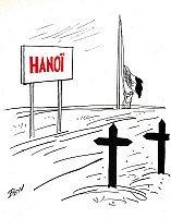0034170 © Granger - Historical Picture ArchiveFIRST INDOCHINA WAR, 1954.   Contemporary French cartoon on the evacuation of Hanoi by the French and the end of French domination of Vietnam, 1954.