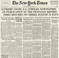 0037191 © Granger - Historical Picture ArchivePENTAGON PAPERS, 1971.   Front page of The New York Times, 1 July 1971, reporting on the previous day's ruling by the U.S. Supreme Court that upheld the right of newspapers to publish the secret Pentagon Papers on the origins of the Vietnam War.