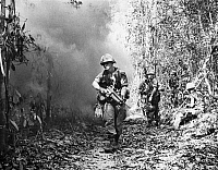 0047466 © Granger - Historical Picture ArchiveVIETNAM WAR: 1st CAVALRY.   Soldiers of the U.S. First Cavalry Division fighting in Vietnam ten miles from the Cambodian border, March 1970.