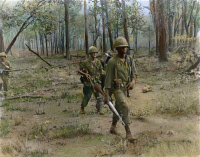 0053578 © Granger - Historical Picture ArchiveVIETNAM: U.S. SOLDIERS.   Members of 'B' Company, First Battalion, 12th Infantry Division, on patrol during 'Operation Lincoln' in the Chu Pong Mountain Range near the Cambodian border during the Vietnamese War: oil over a photograph, April 1966.