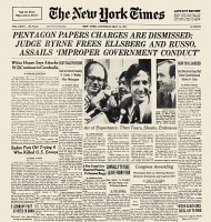 0060858 © Granger - Historical Picture ArchivePENTAGON PAPERS, 1973.   Front page of The New York Times, 12 May 1973, reporting on the dismissal the previous day of all charges against Daniel Ellsberg and Anthony J. Russo of stealing and copying the secret Pentagon Papers on the origins of the Vietnam War.