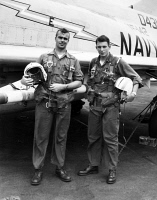 0078399 © Granger - Historical Picture ArchiveVIETNAM WAR: U.S. AVIATORS.   Lieutenant Guy Freeborn and Radar Intercept Officer Robert Elliot who fly a F-4B Phantom II fighter bomber deployed aboard the aircraft carrier USS Constellation, August 1967.